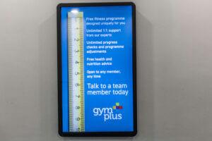 Digital display at Gym Plus