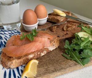 Smoked salmon and boiled eggs